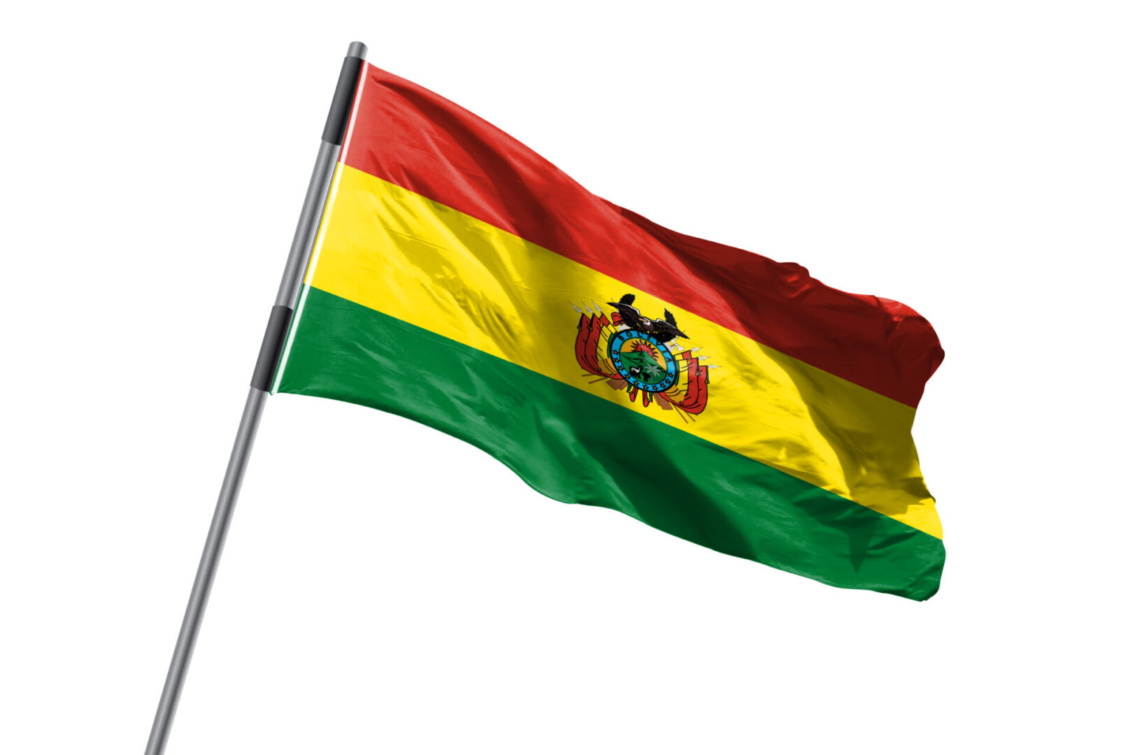 Bolivia,Flag,Waving,Against,White,Background,Stock,Image