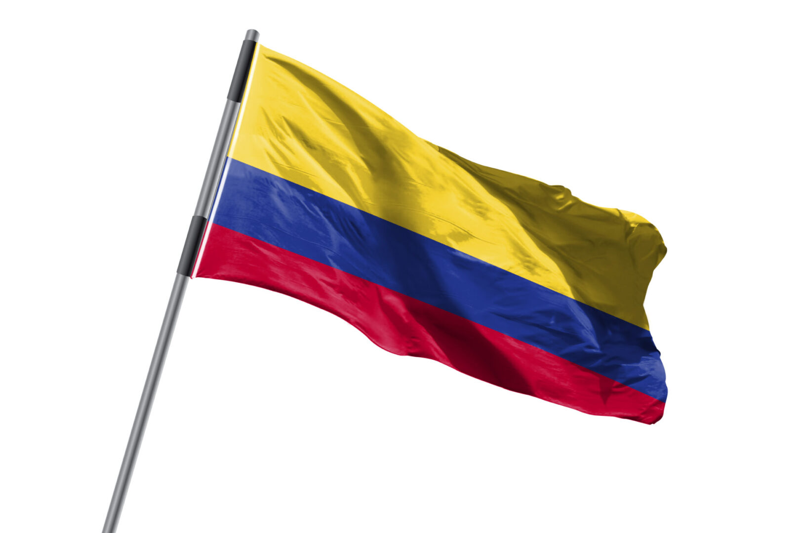 Colombia,Flag,Waving,Against,White,Background,Stock,Image