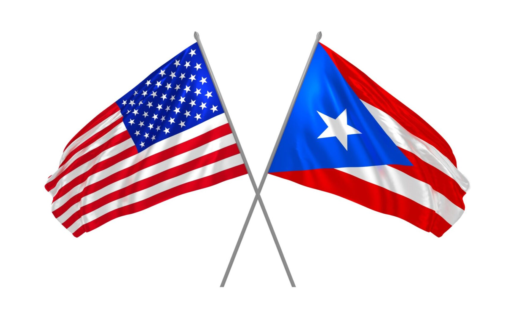 Usa,And,Puerto,Rico,Crossed,Flags,Waving,In,The,Wind